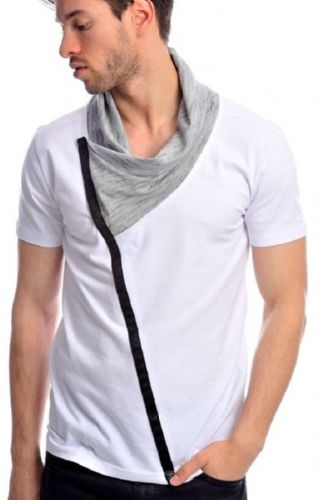 Fargo Designer White Grey Melange Cowl Neck Button Fitted T Shirt Detailed